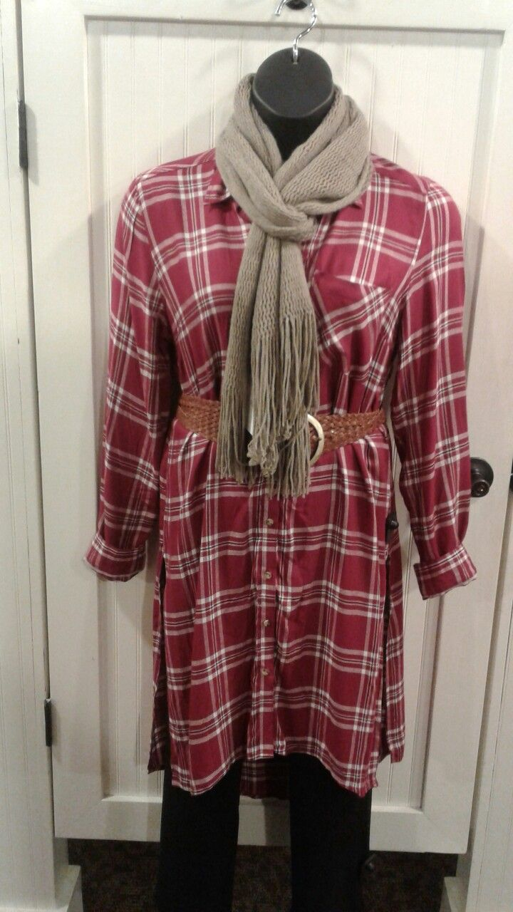 Flannel outfits with leggings  Pink plaid flannel shirt dress black leggings neutral scarf woven