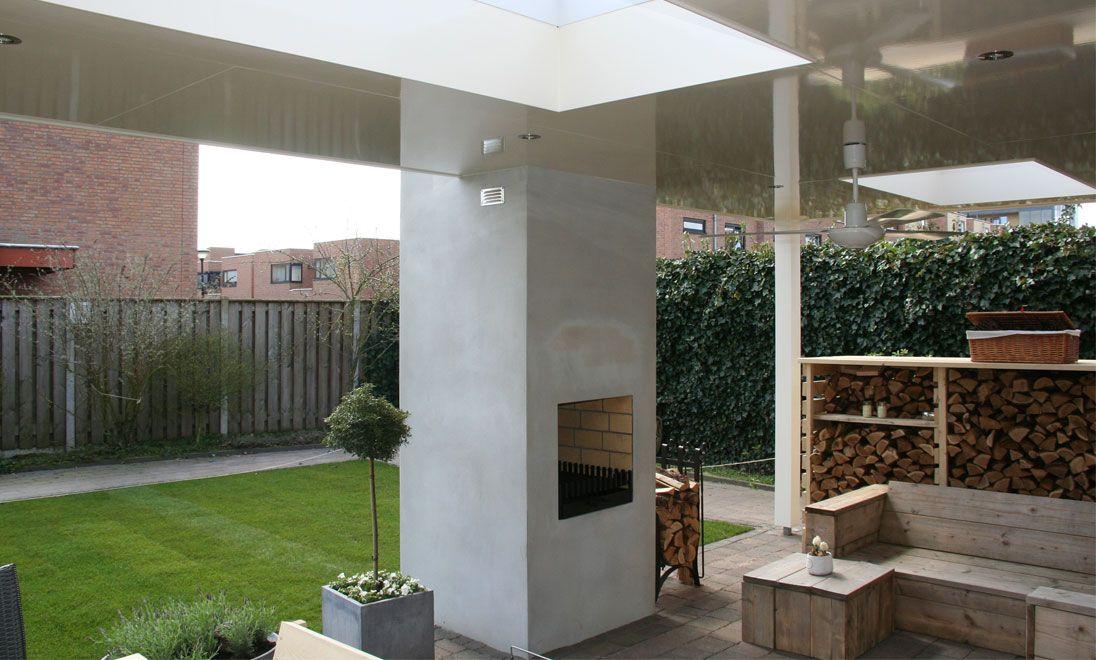 terrasoverkapping met openhaard met twee lichtkoepels kerkhofmaatwerk terrasse. Black Bedroom Furniture Sets. Home Design Ideas