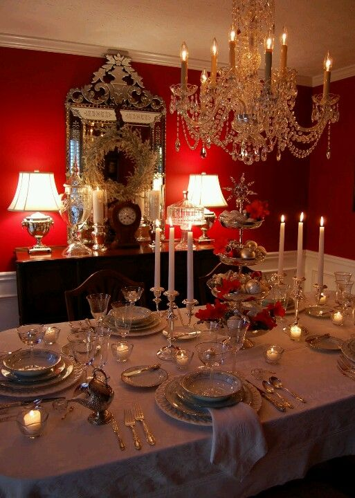 Mesa Familiar  Navidad Llena De Luz   Pinterest  Table Captivating Dining Room Table Setting Ideas Inspiration Design