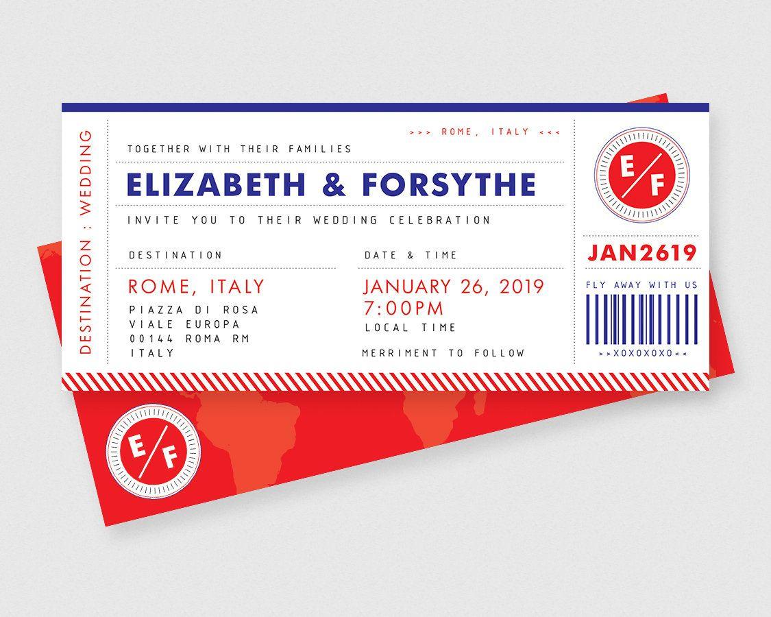 Boarding Pass Plane Ticket Printable Wedding Invitations ...