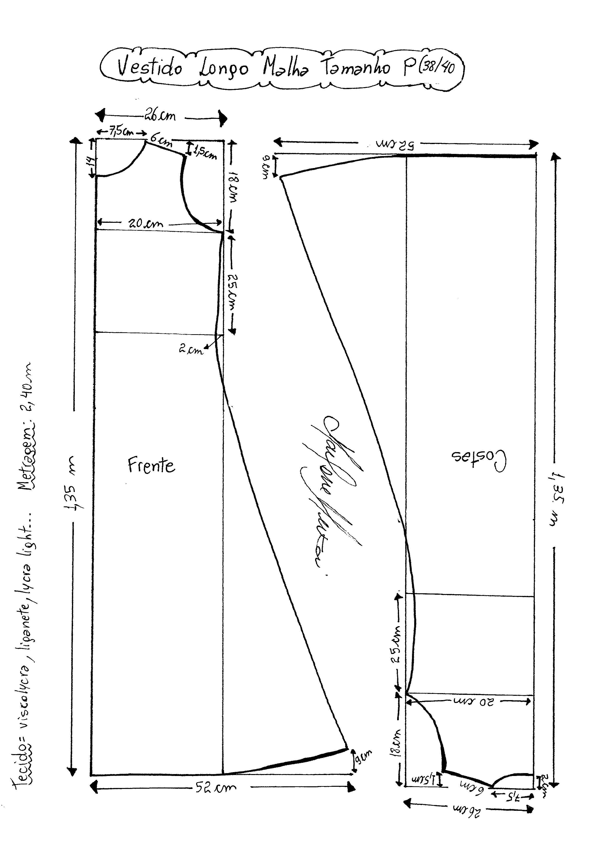 Vestido longo de Malha Regata | PATRON | Pinterest | Patterns ...