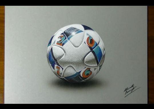 Dessin et peinture vid o 1852 dessiner en 3d le - Dessin ballon foot ...