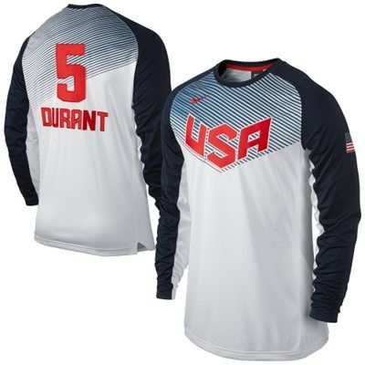 2ad6be48a8c Kevin Durant Team USA Basketball Nike Shooting Shirt - White Navy Blue