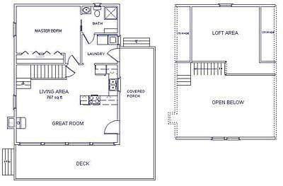 Cabin W Loft 24x32 Plans Package Blueprints Material List Loft Floor Plans Cabin Plans With Loft Cabin Floor Plans