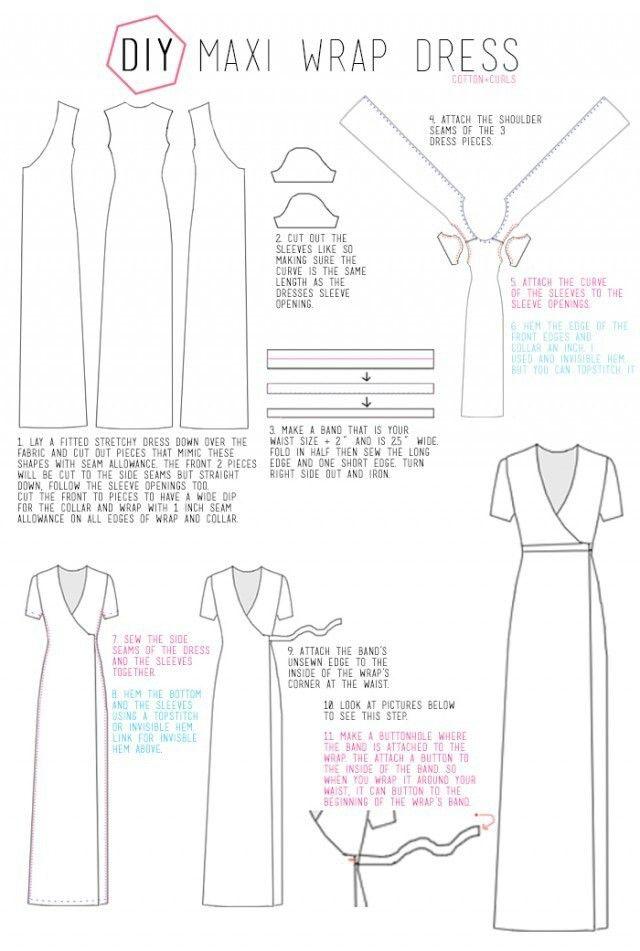 Maxi wrap dress pattern   SEW_DRESS   Pinterest   Costura, Patrones ...