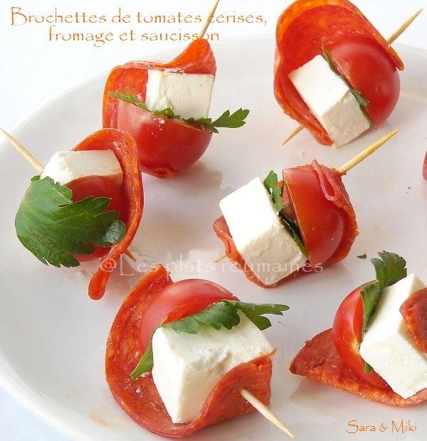 les plats roumaines brochettes de tomates cerises fromage et saucisson essen pinterest. Black Bedroom Furniture Sets. Home Design Ideas