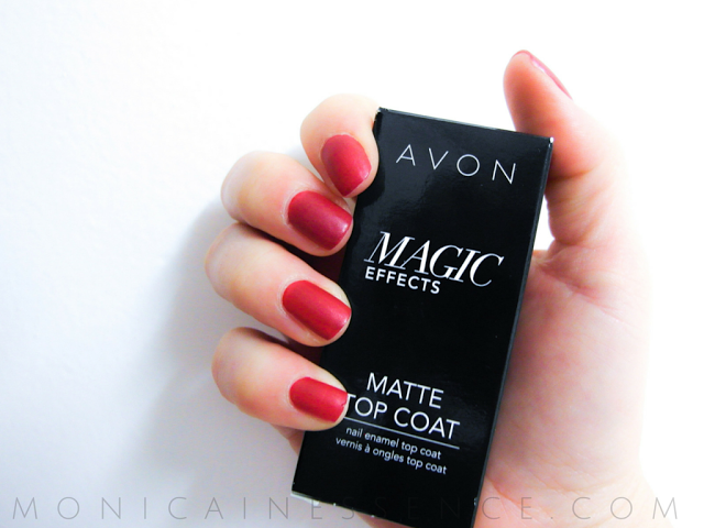 Matte red nails with Matte Top Coat from Avon