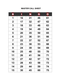 Bingo Call Sheet For Overhead Projector Portrait Bingo Calls Bingo Sheets Bingo Printable