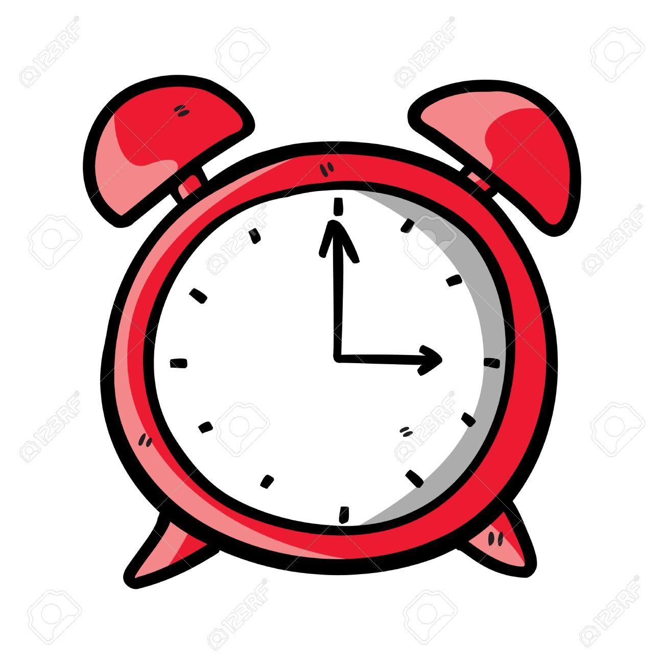 Reloj dibujado color rojo ilustraciones vectoriales - Reloj pintado en la pared ...