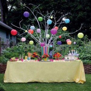 Enchanting Backyard Garden Birthday Party Decor With Creative Lantern Tree