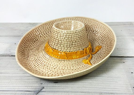 Vintage Whittier Pottery Sombrero Chip And Dip Serving Platter