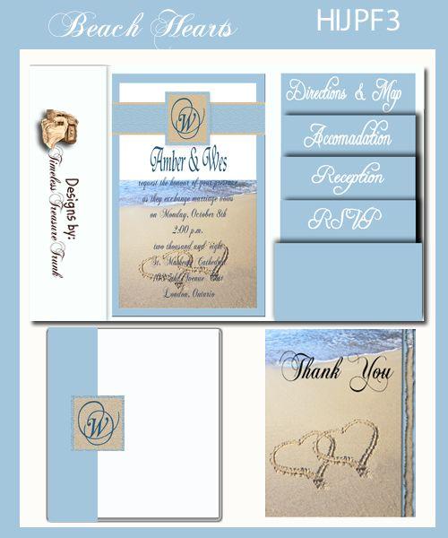 Do It Yourself Templates for a Pocket Fold Beach Themed Wedding