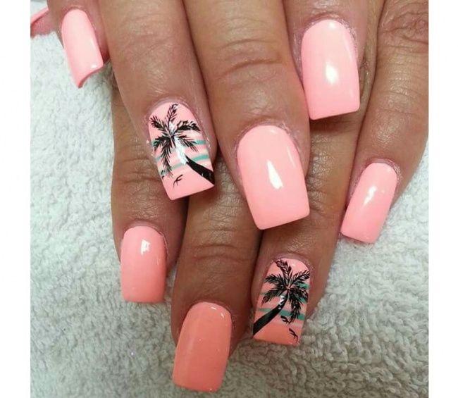 20 Pomyslow Na Rozowy Manicure Slodkie Wzorki Na Paznokcie Na Lato Strona 5 Palm Tree Nails Stylish Nails Stylish Nails Art