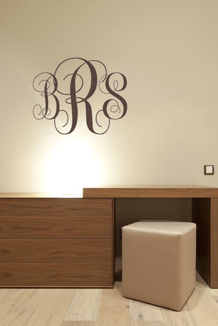 Fancy Monogram Wall Decal Personalized Initials College Dorm - Custom vinyl decals wichita ks