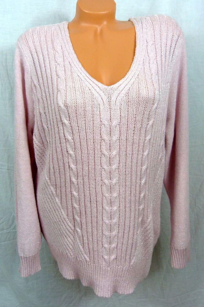 c3339f24558b Womans Chaps Plus Metallic V Neck Sweater Pink 2X CHP SWR I XXL Classics  NWT