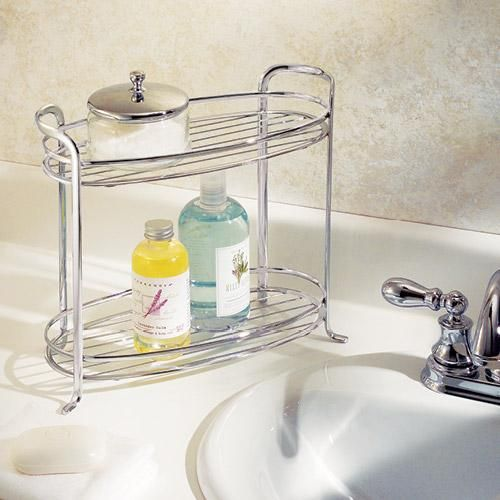 2 shelf countertop bathroom organizer get organized for Kitchen countertop storage solutions