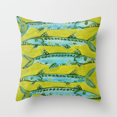 Barracuda+on+Yellow+Throw+Pillow+by+Cat+Coquillette+-+$20.00