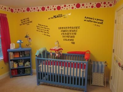 Dr Seuss nursery with bright yellow walls and red white and blue ...