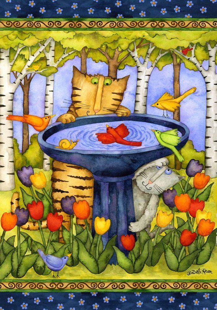 PriMiTive Mischievous Cats Birds Snail Bird Bath Tulips BiRch 0544New Mini Flag in Home & Garden, Yard, Garden & Outdoor Living, Garden Décor | eBay