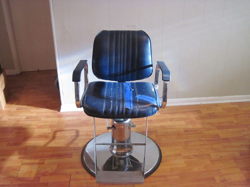 Vintage Veeco Barber Chair Hydraulic Adjustable Blue Shop Beautician Salon Seat Barber Chair Chair Beauticians