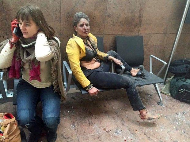 Explosões no aeroporto de Bruxelas deixaram mais de 10 mortos e dezenas de feridos (Foto: Ketevan Kardava/ Georgian Public Broadcaster/AP)