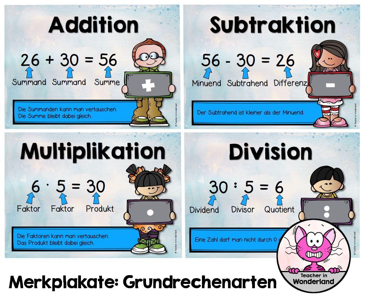Habe für meine Matheklassen nun Merkplakate zu den Grundrechenarten ...