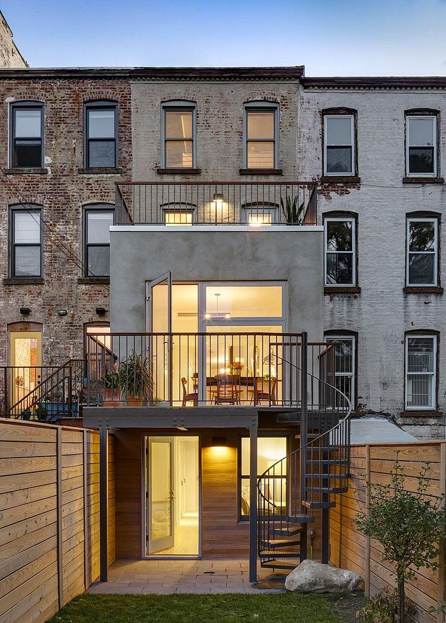 Revamped Narrow Brooklyn Row House Defined by Unique Details is part of Narrow house designs, Row house design, Narrow house, Row house, Townhouse interior, Brooklyn house - This project is a renovation and extension to a 12′ wide Brooklyn row house, New York  BFDO completely gutted the existing four story brick