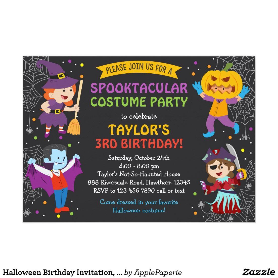 Halloween Birthday Invitation, costume party, kids Card | Halloween ...