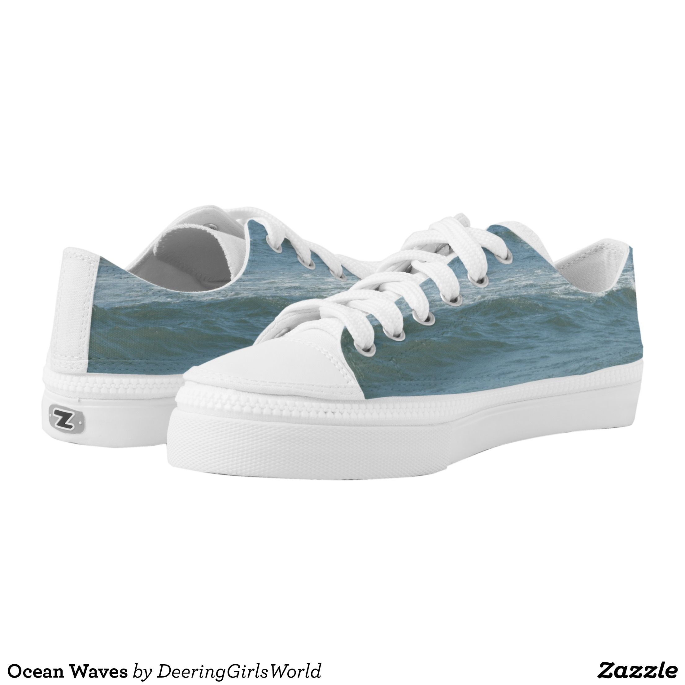 bd34a9a9b522 Ocean Waves Low-Top Sneakers - Canvas-Top Rubber-Sole Athletic Shoes By