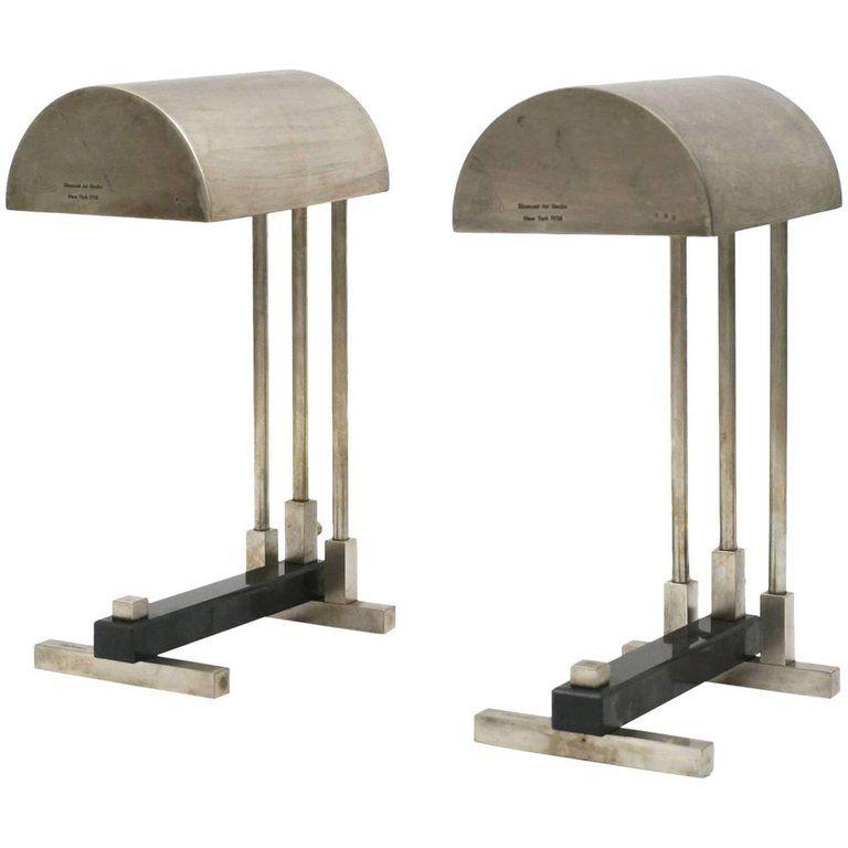 Pair Of Bauhaus Desk Lamps Diamant Art Studio Ny 1938 Stamped