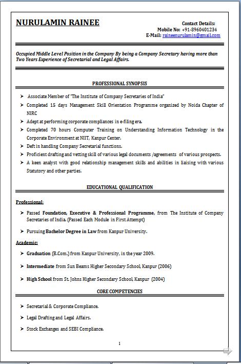 law student resume india