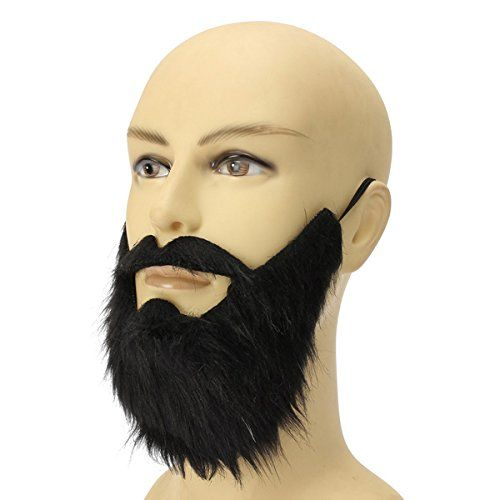 Black Pirate Beard Fake Facial Hair Mustache Moustache Goatee Costume Mens Adult