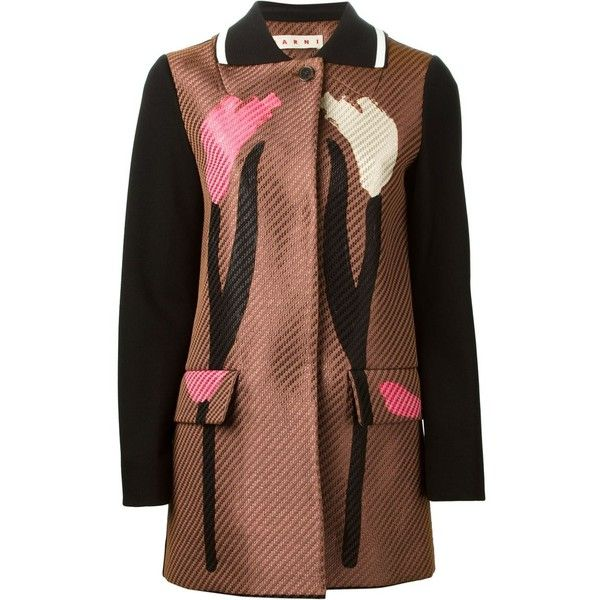 Marni flower print coat (€955) ❤ liked on Polyvore featuring outerwear, coats, black, marni, long sleeve coat, collar coat, floral coats and marni coat