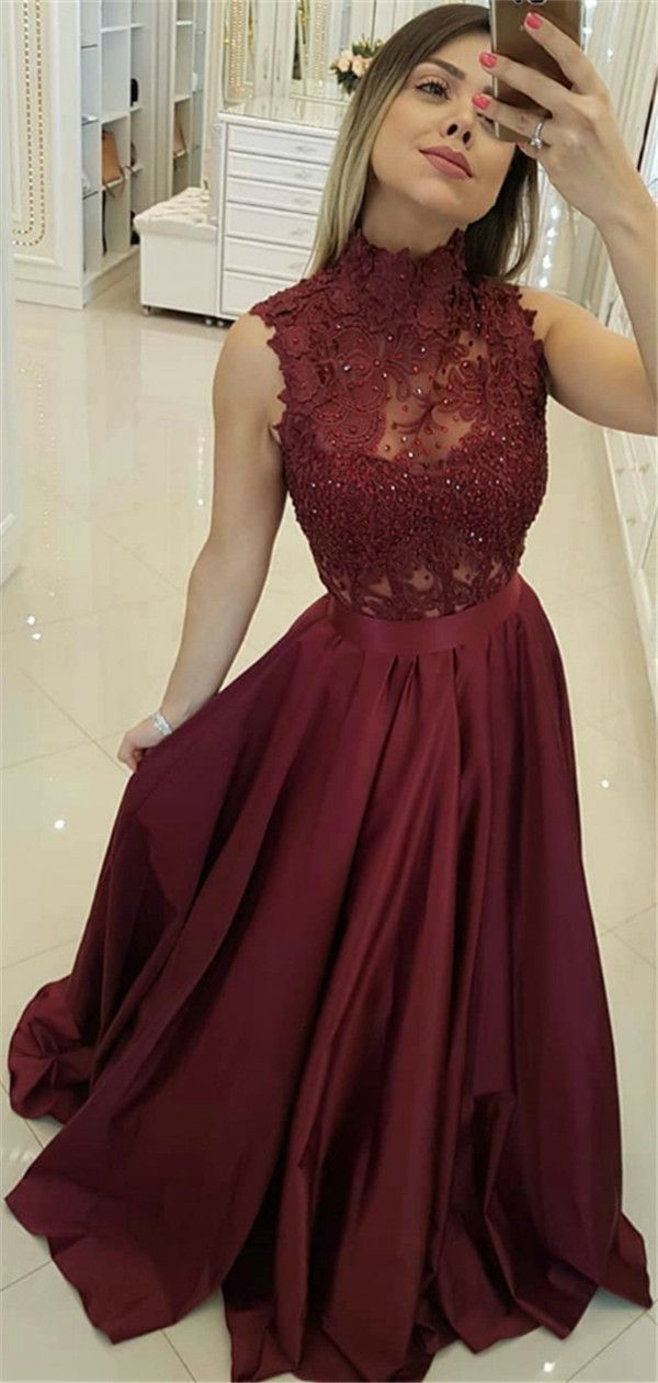 High Neck Lace Top Sleeveless Burgundy Beading Prom Dress Pd0718 Military Ball Gowns Maroon