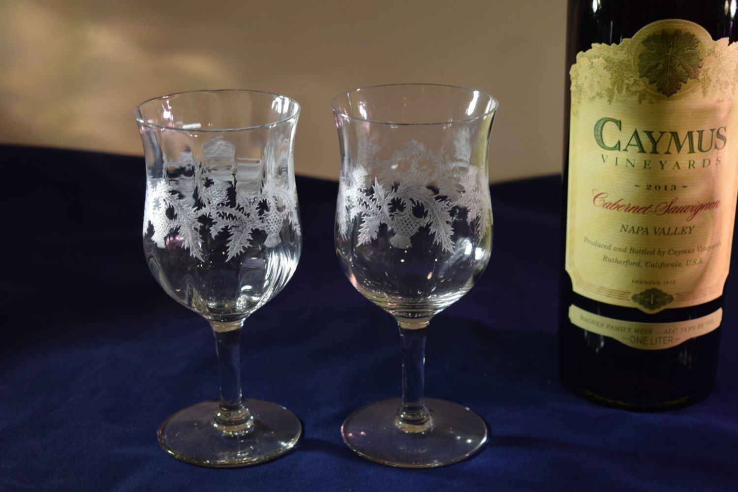2b0862e581a Antique Etched Optic Glass Wine Glasses