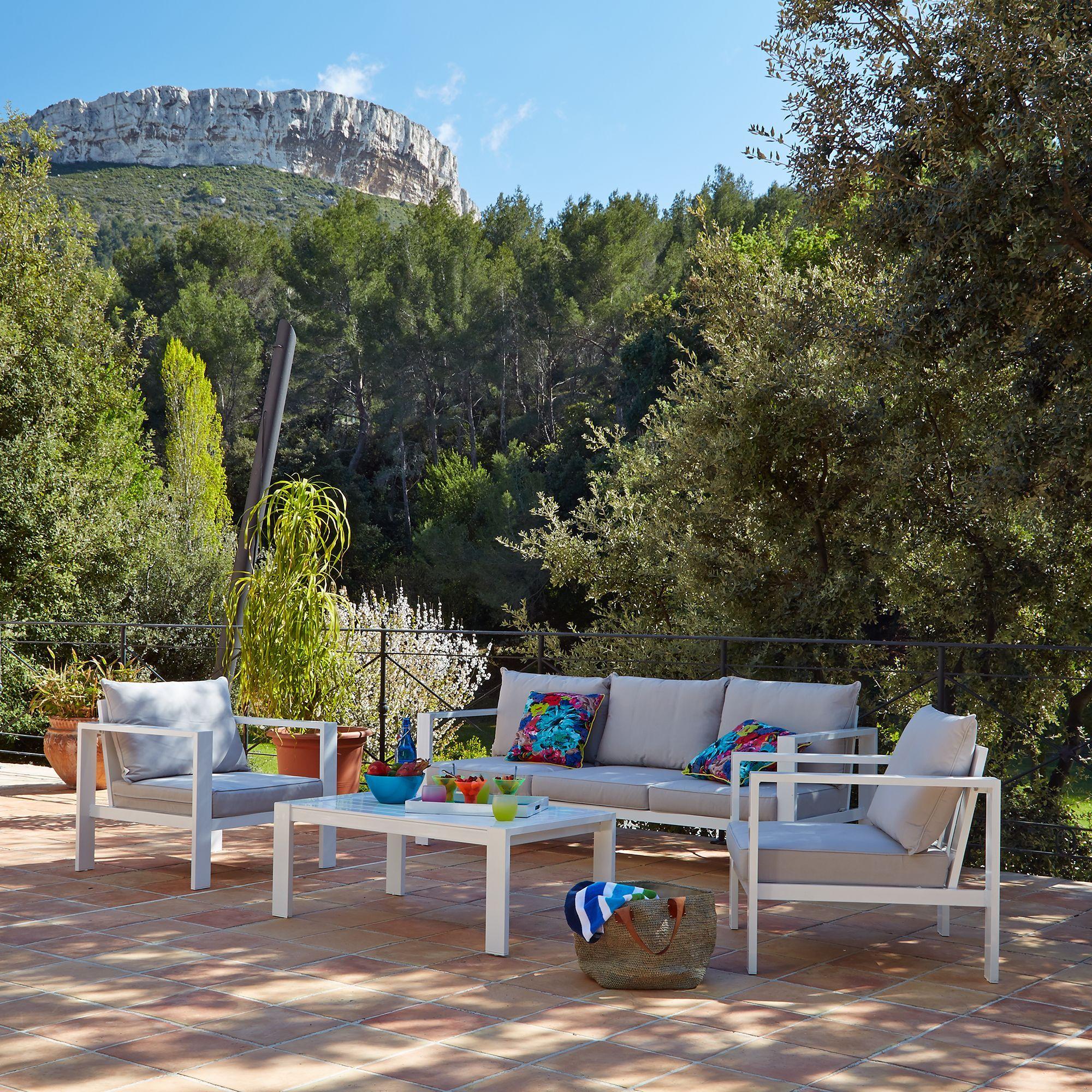 alinea : port royal salon de jardin taupe en aluminium (6 ...