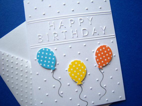 Bright Balloons Birthday Card Etsy Kids Birthday Cards Embossed Cards Birthday Cards