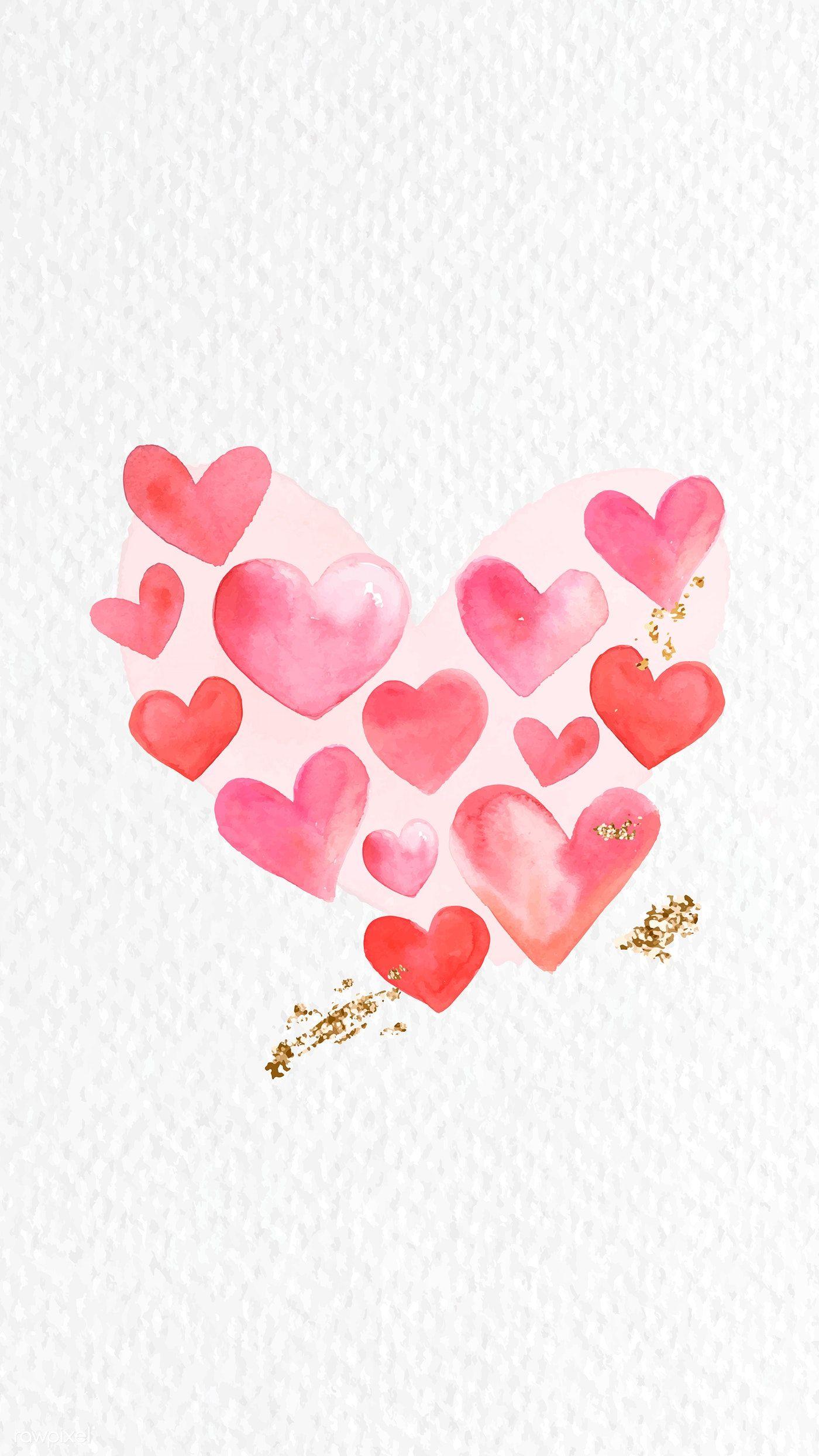 Download premium vector of Red heart watercolor phone