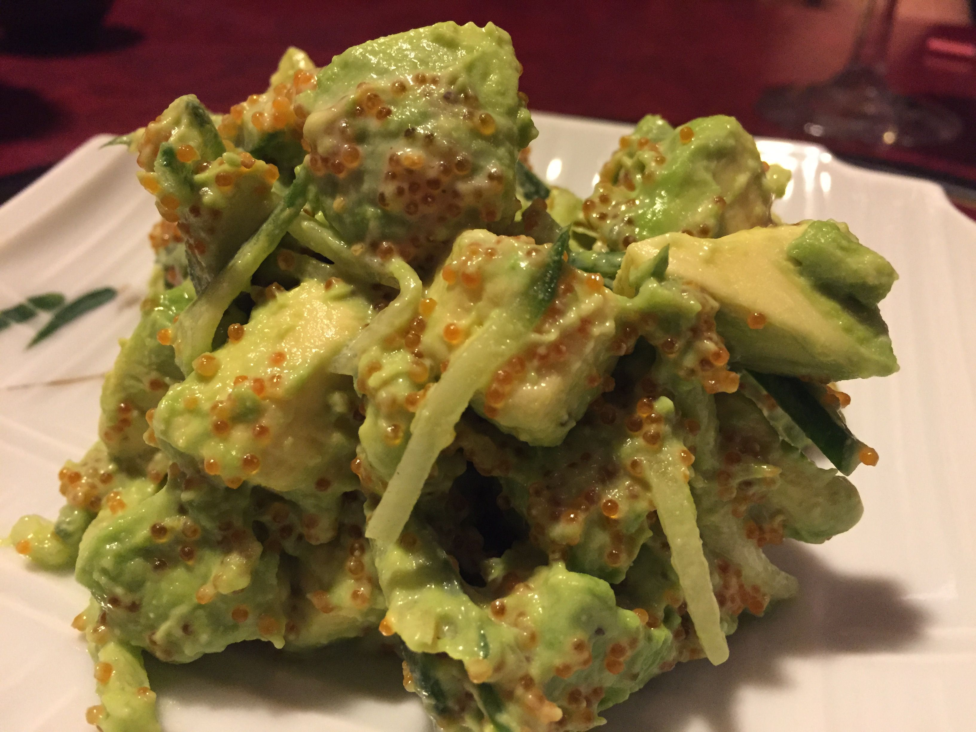Avocado salad avocado cucumber and tobiko tossed with