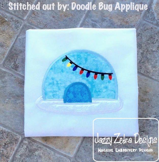 Igloo with Christmas lights Appliqué Design: Jazzy Zebra Designs