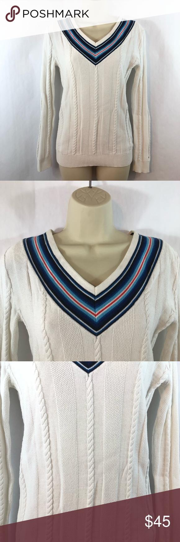 Tommy Hilfiger White Sweater Blue Red Striped Neck Tommy