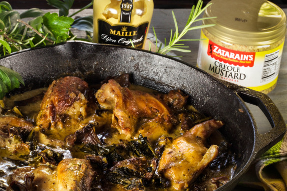 Mustard-Braised Rabbit is farmhouse cooking with rich flavors.