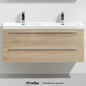 Toki 120 Cm Wall Hung Vanity Top Double Wave Basin Cabinet