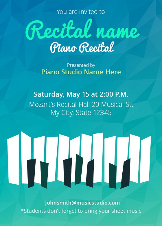 Customize your own Recital invitations! 5 Templates, free! Music - create invitations online free no download