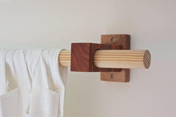 modern wood curtain rod holders