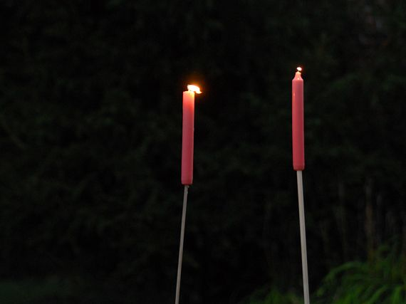 Easy Outdoor Candle Stakes: I Used A Small Drill Bit To Hallow Out The  Bottom 1/4 Of A Stack Of Taper Candles And Stuck Them Atop Craft Dowels And  Then Into ...