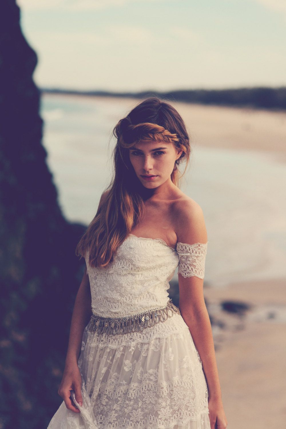 Strapless lace wedding dress arm bands bohemian floaty