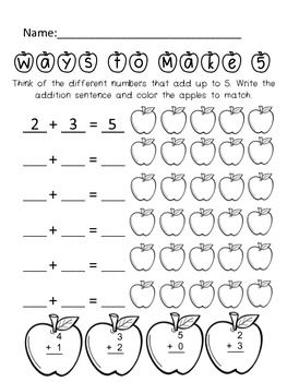 Worksheets Sums Of Addition apple addition pack 14 pages of practice with digits 0 9 and sums
