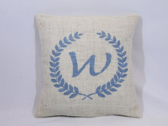 Personalized rustic monogrammed letter wreath sky by ShamShack