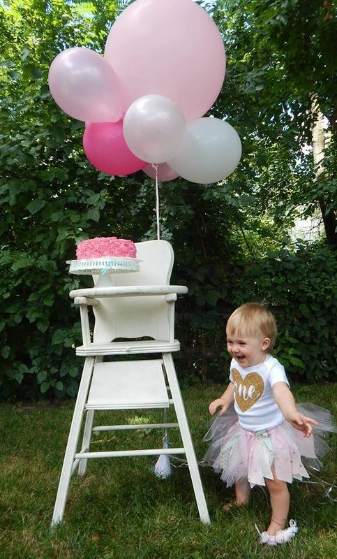 1st Birthday Photo Shoot With Antique High Chair, Big Pink Balloons, Smash  Cake And One Beautiful Baby! Rented High Chair From Uniquely Your Event U0026  Sweet ...